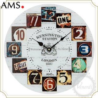 【予約販売中】AMS白地木目調レトロナンバー掛け時計