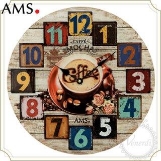 【予約販売中】AMS木目調レトロナンバー掛け時計カフェ