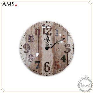 【予約販売中】AMS木目調プリントデザインナンバー掛け時計