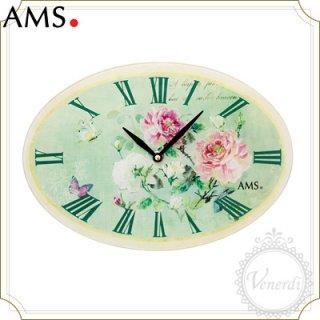 AMSグリーンフラワー掛け時計