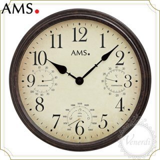 【予約販売中】AMS温度、湿度、気圧ビンテージ風掛け時計