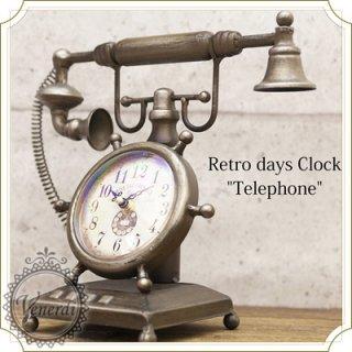 レトロデイズクロック Telephone 電話型置時計