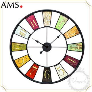 【予約販売中】AMSアイアン カラフルレトロ掛け時計(L)