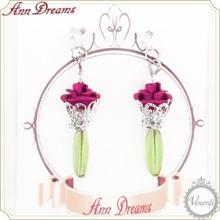 バラの一輪挿しピアス&イヤリング ピンク