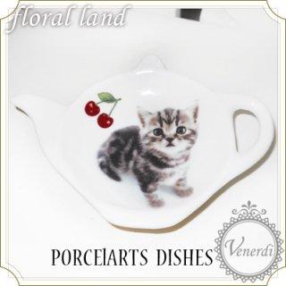 ポーセラーツ ネコ柄 ティーポット皿