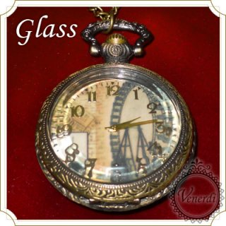 【web限定】懐中時計 ガラス蓋ネックレス時計 観覧車