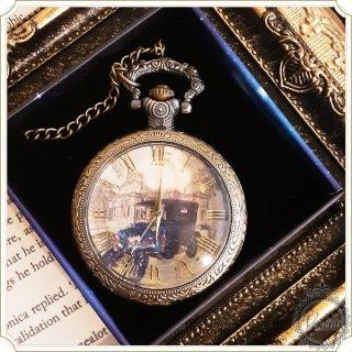 【web限定】懐中時計 ガラス蓋ネックレス時計 時計塔と車