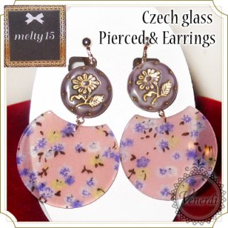 チェコガラスのお花ピアス&イヤリング ピンク