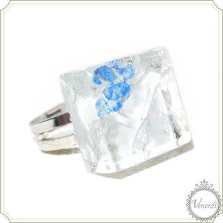 氷ったガラスタイルリング ヒビ割れ×シェル フリーサイズ
