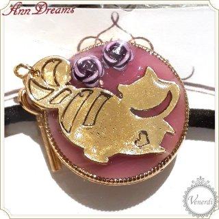 色が変わるチェシャ猫ヘアゴム 紫⇔薄ピンク