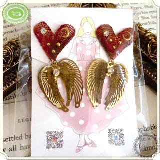 限定デザイン レッドハートの天使の羽根イヤリング