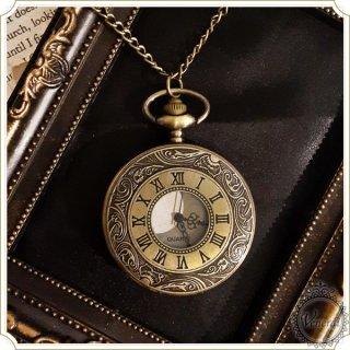【web限定価格】懐中時計 ローマ数字ネックレス時計