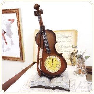 ロイヤルサロン テーブルクロック Violin & Book