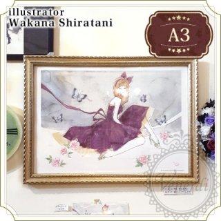 【額セット】A3ポスター 蝶と薔薇