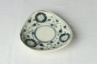 YP184 洋皿/三角・植物(白・青4)