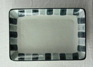 WP851 和皿/四角(白×青×グレー)・四角ライン