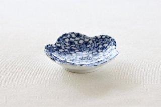 WP155 豆皿/花型(白×青)・桜ともみじ