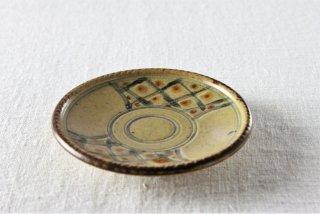 WP864 和風小皿/丸(黄×茶)