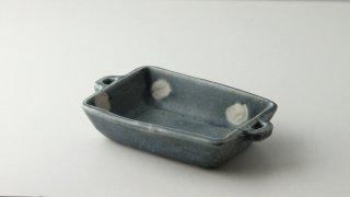 WP898 和皿/四角(白×水色)・丹波焼・水玉・取っ手付き