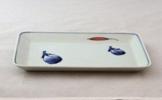 WP911 和皿/四角(白×青)・茄子