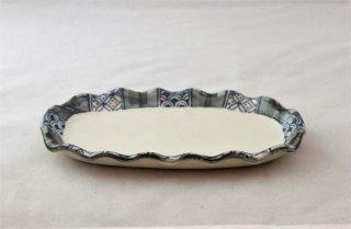 WP917 和皿/楕円(白×青)・青海波と鹿の子