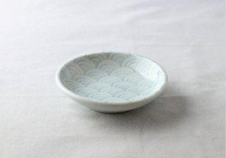 WP943 和皿/丸(白×水色)・青海波