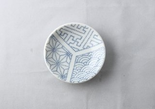 WP944 和皿/丸(白×水色)・麻の葉と青海波