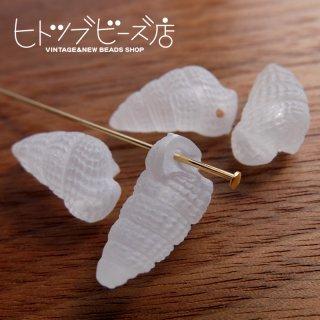 樹脂の巻貝ビーズ4個(クリアケシ)