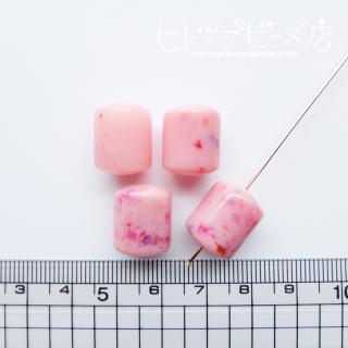 円柱ビーズ4個(ピンク系)