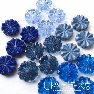 おはじきみたいなお花ビーズ4個 ブルー系