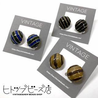 【全3色】ヴィンテージ しましま丸型イヤリング
