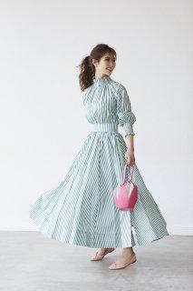ストライプシャーリングドレス【グリーン】