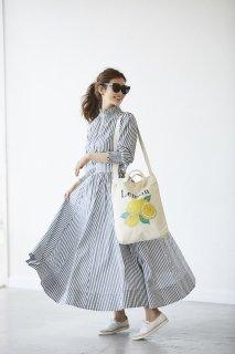 ストライプシャーリングドレス【ネイビー】