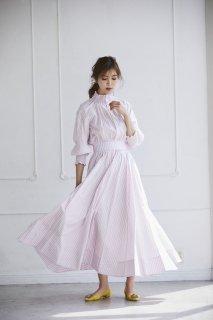 ストライプシャーリングドレス【ピンク】