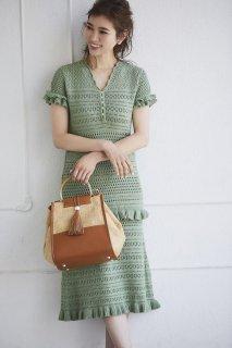 レースニットドレス【セージグリーン】