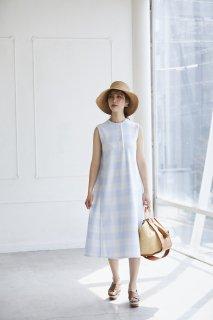 ギンガムニットドレス(ライトブルー)