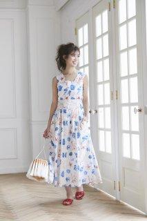 シェルプリントドレス(ホワイト)