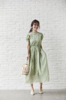 【20%OFF】フローラルシフォンロングドレス(ライトグリーン)