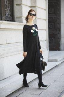 クロッシェフラワーニットドレス(ブラック)