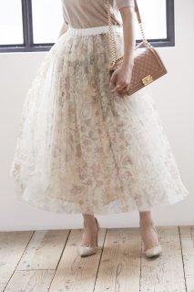 ゴブランプリントチュールスカート(オフホワイト)