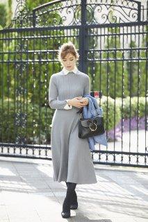襟付きニットドレス(ライトグレー)