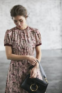 バックリボンプリントドレス(ピンク)