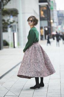 小花ジャガードスカート(ピンク)