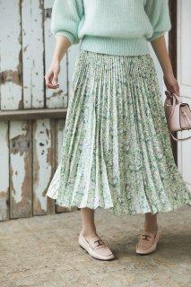 フラワープリーツスカート(ライトグリーン)