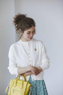 ワンポイント刺繍カーディガン(ホワイト)