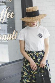 【再入荷】SVTロゴ刺繍Tシャツ(ホワイト×ネイビー)