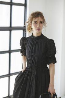 コットンカットワークレースドレス(ブラック)