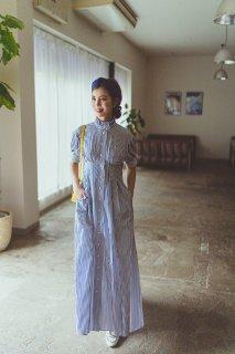 【再入荷】スタンドカラーストライプシャツドレス(ネイビー)