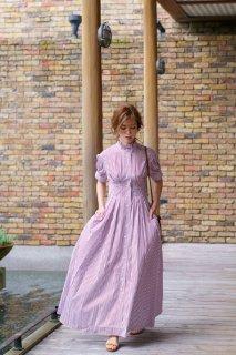 【再入荷】スタンドカラーストライプシャツドレス(レッド)