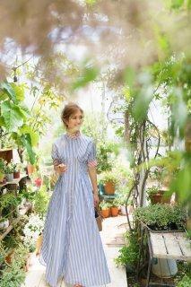 【再入荷】スタンドカラーストライプシャツドレス(ライトブルー)